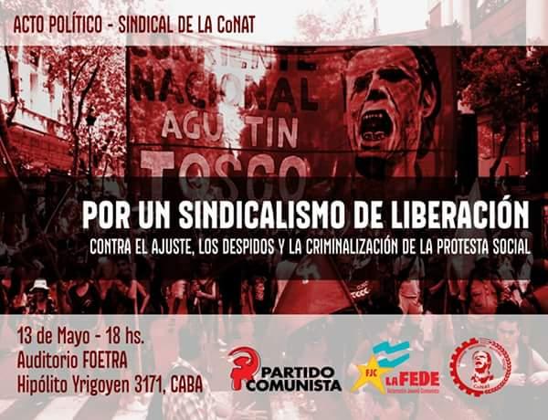 Acto político sindical de la CONAT - 13 de mayo de 2016 en FOETRA